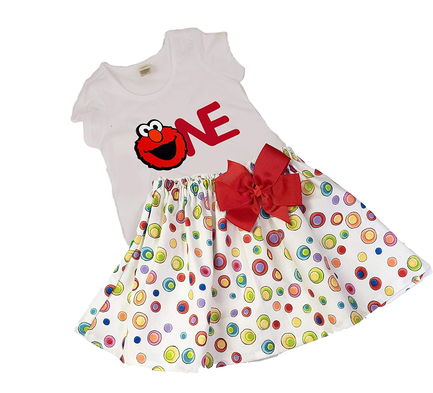 Baby Girls Elmo Skirt Outfit birthday outfit, Toddler Elmo outfit girl Elmo name age girl birthday outfit baby Elmo outfit toddler Elmo name age