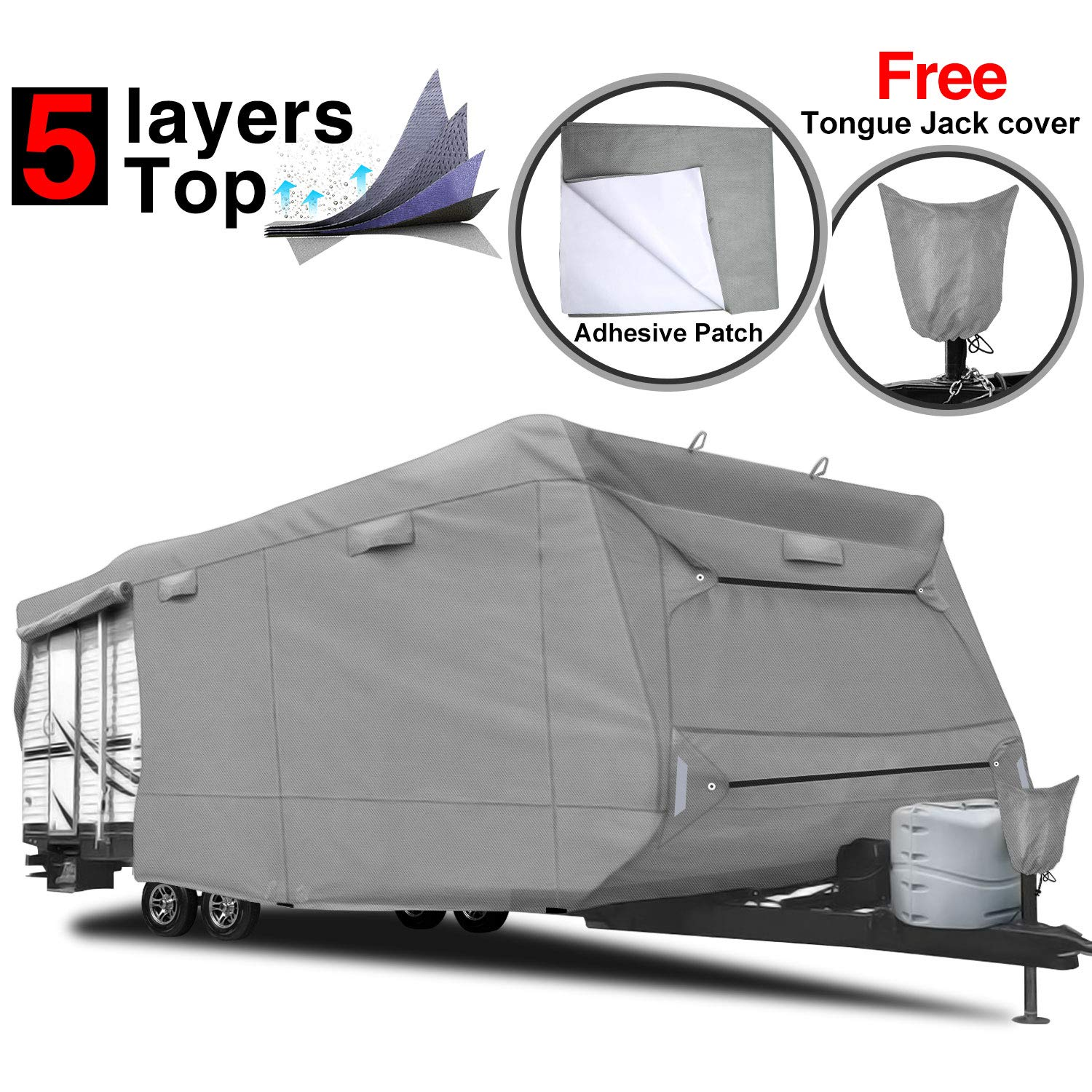 RVMasking 5-ply Top Travel Trailer RV Cover, Fits 28'7'' - 31'6'' RVs - Breathable Waterproof Anti-UV Ripstop Camper Cover with 15 PCS Windproof Buckles & Tongue Jack Cover by RVMasking