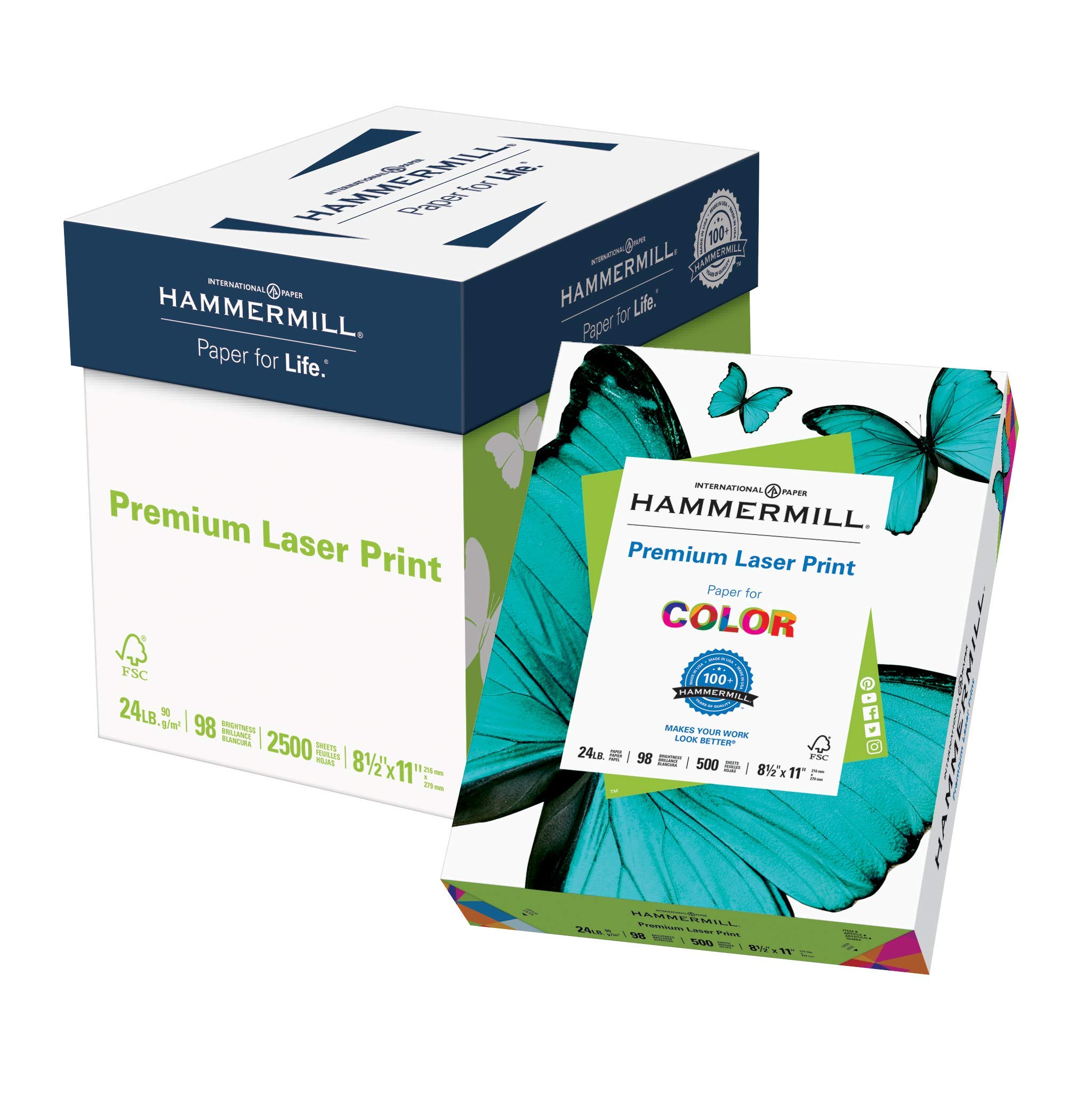 Hammermill Paper, Premium Laser Print Paper, 8.5 x 11 Paper, Letter Size, 24lb Paper, 98 Bright, 5 Reams / 2,500 Sheets (104640C) Acid Free Paper by Hammermill