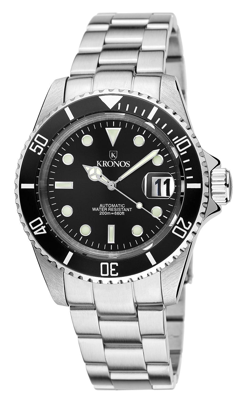 Kronos - Sport Q 200MTS Black 992.8.55 - Reloj Diver de Caballero automático, Brazalete de Acero, Color Esfera: Negra: Amazon.es: Relojes