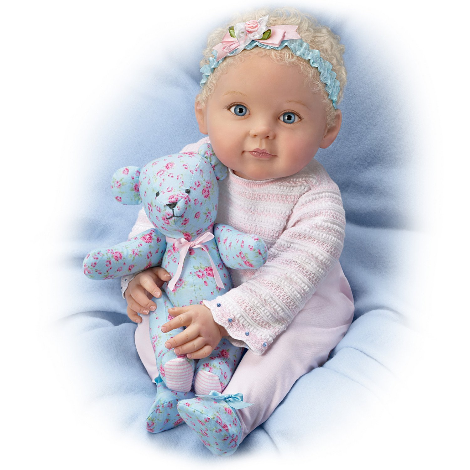 P Lau So Truly Real Lauren Baby Doll with Poseable Teddy Bear by The Ashton-Drake Galleries