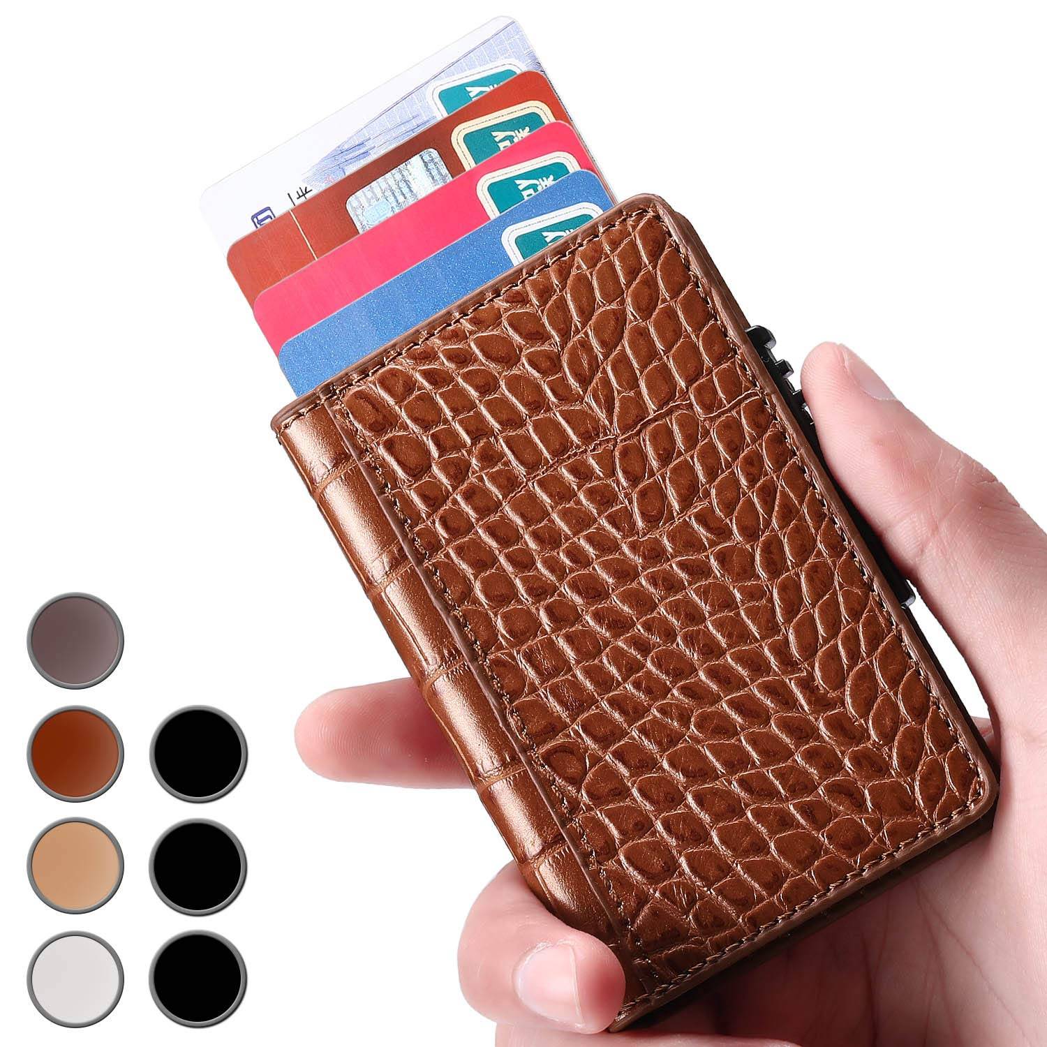 Brooben Credit Card Holder RFID Slim Leather Wallet Auto Pop-up Coffee CC1-Coffee