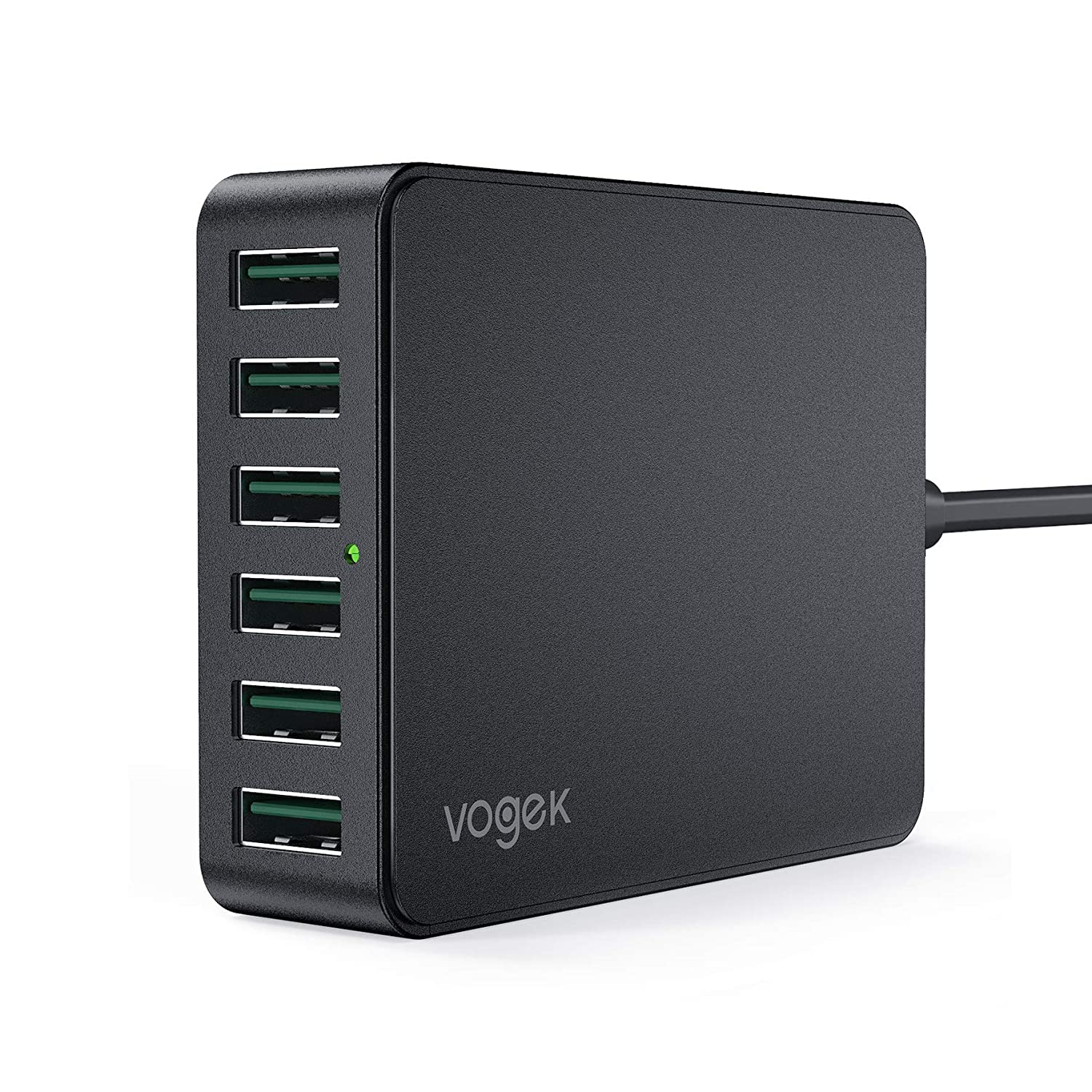 USB Charger, Vogek 60W 12A 6-Port USB Charging Station Multi Ports Desktop Charger with Smart Identification Compatible with Cellphones Tablets - Iron Gray