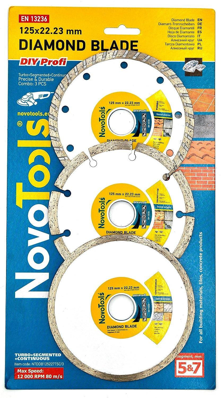 NOVOTOOLS Disques Diamantés à Tronçonner 125 x 22,2 mm Lot de 3 pièces - Segmenté, Turbo, Céramique (Tuile). Diamant Meuleuse d'Angle Des Lames Pour La Pierre, Briques, Carreaux Et Béton Carreaux Et Béton