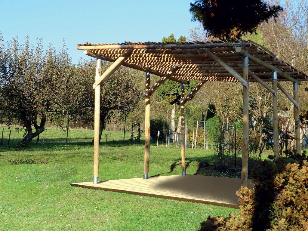 Julia - Cenador de jardín (madera de castaño): Amazon.es: Jardín