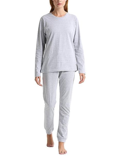 Berydale, Pijama para Mujer, (Grau/Blau Grau/Blau), X