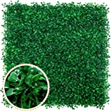Artificial Boxwood Panels - 12 PCS Faux Boxwood Mats Hedges Plants, UV Protected Greenery Wall Backdrop for Outdoor Garden Fe