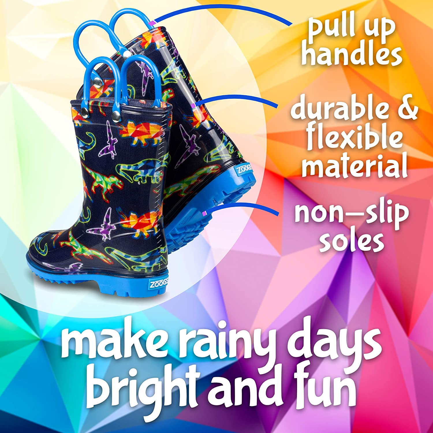 ZOOGS Printed Kids Toddler Rain Boots for Girls and Boys,Dinosaur,9