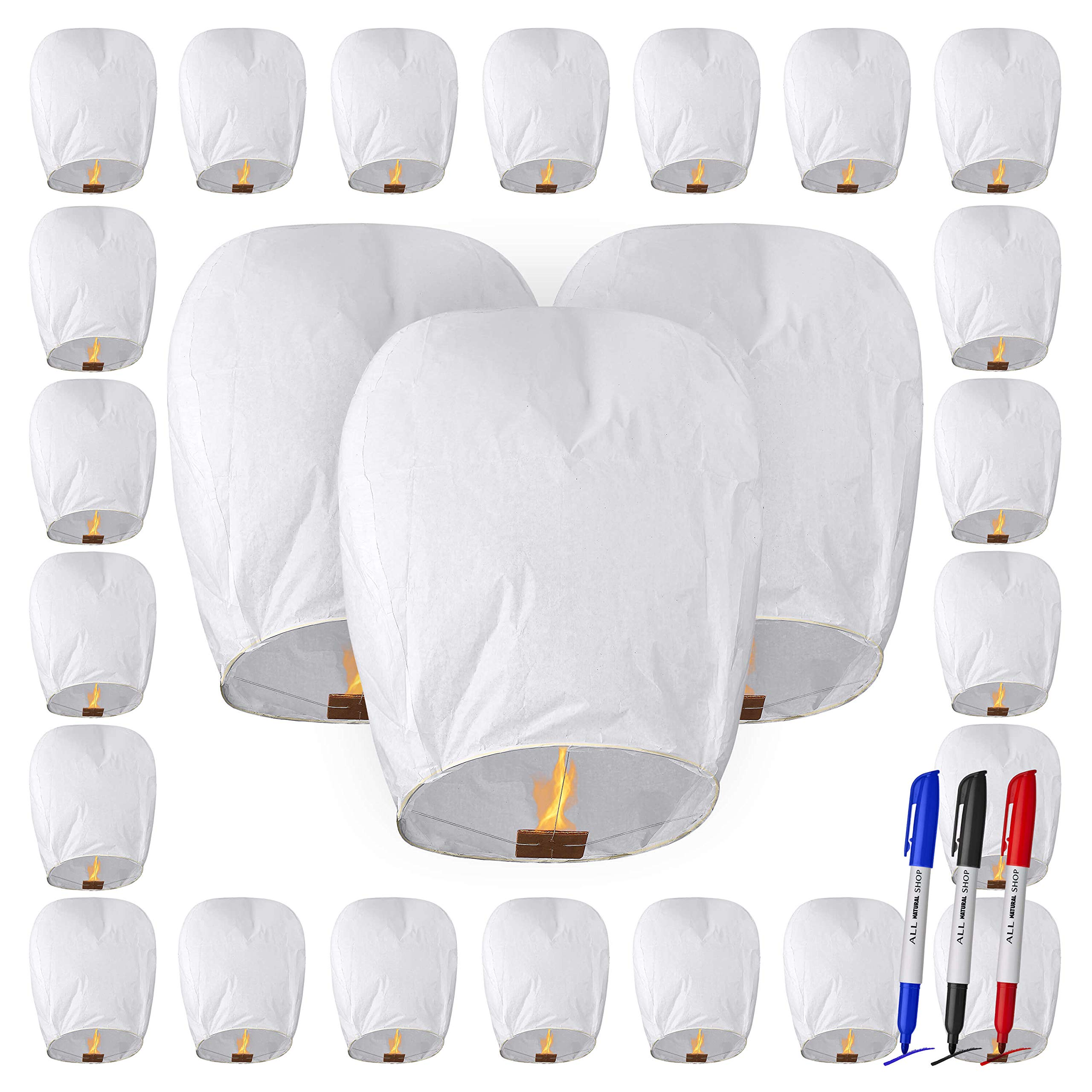 All Natural Shop 25 Pack Chinese Sky Lanterns - White, Eco Friendly, 100% Biodegradable. Wire-Free Paper Japanese Prime Paper Sky Lantern to Release in Sky. by All Natural Shop