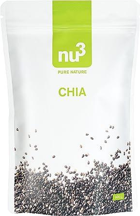 nu3 Semillas de Chía Premium | 800 g | Con ácidos grasos omega-3, fibra y proteína | SUPERFOOD para cada día | Para cocinar y hornear | Complemento ...