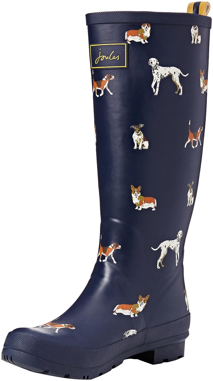 Joules Women's Wellyprint Rain Boot, Navy Dog, 6 M US