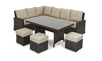 Astonishing Maze Rattan Kingston Corner Sofa Dining Set In A Weave Mixed Brown Ibusinesslaw Wood Chair Design Ideas Ibusinesslaworg