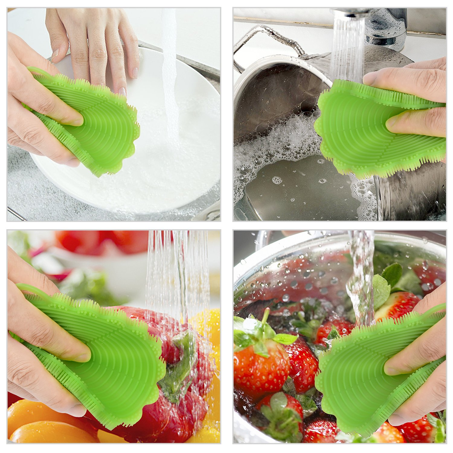 Kitchen Silicone Sponge, Robao 3 Pack Food-grade Antibacterial Dish Scrubber, Heat-resistant Mat, Multipurpose Silicone Dish Washing Brush For Pot, Pan, Fruit and Vegetables, Easy To Clean Non-stick