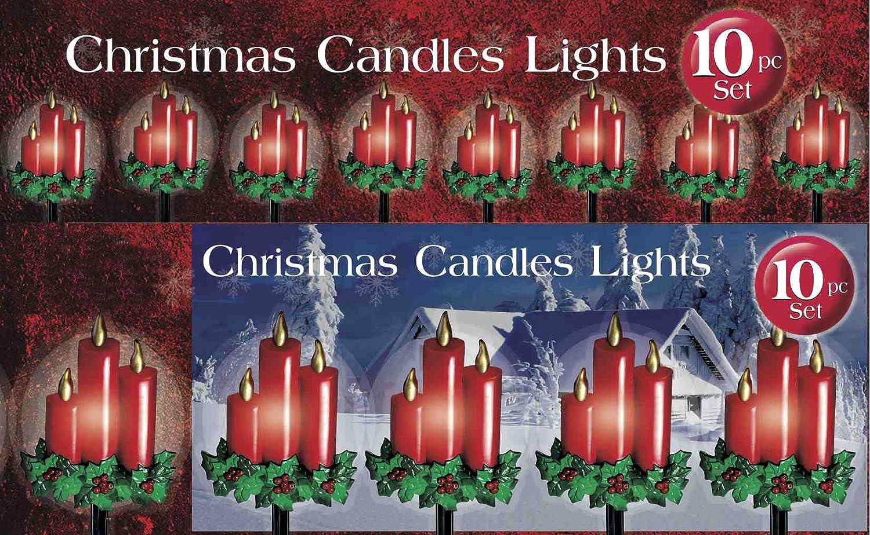 Amazon Com 10 PIECE CHRISTMAS CANDLE PATHWAY LIGHT SET  - Pathway Christmas Lights