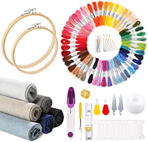 Caydo 106 Pieces Embroidery Kit, 50 Color Threads, 6 Pieces Embroidery Fabric, 2 Pieces Bamboo Embroidery Hoops and Cross Stitch Tool for Adults and Kids Beginners