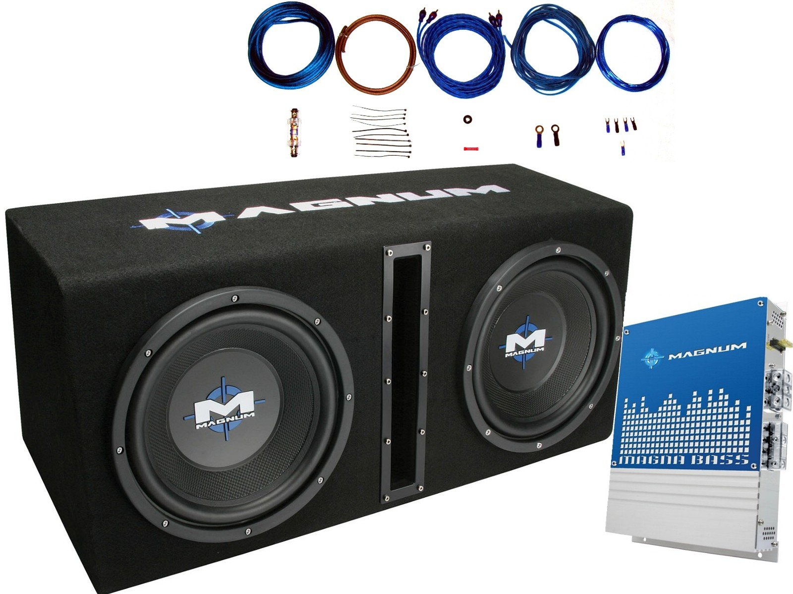 MTX MB210SP Dual 10'' 400 Watts RMS Loaded Subwoofer Enclosure With Mono Block Amplifier and 8 Ga. Amp Wiring Kit ( 1200 Watts MAX Power )