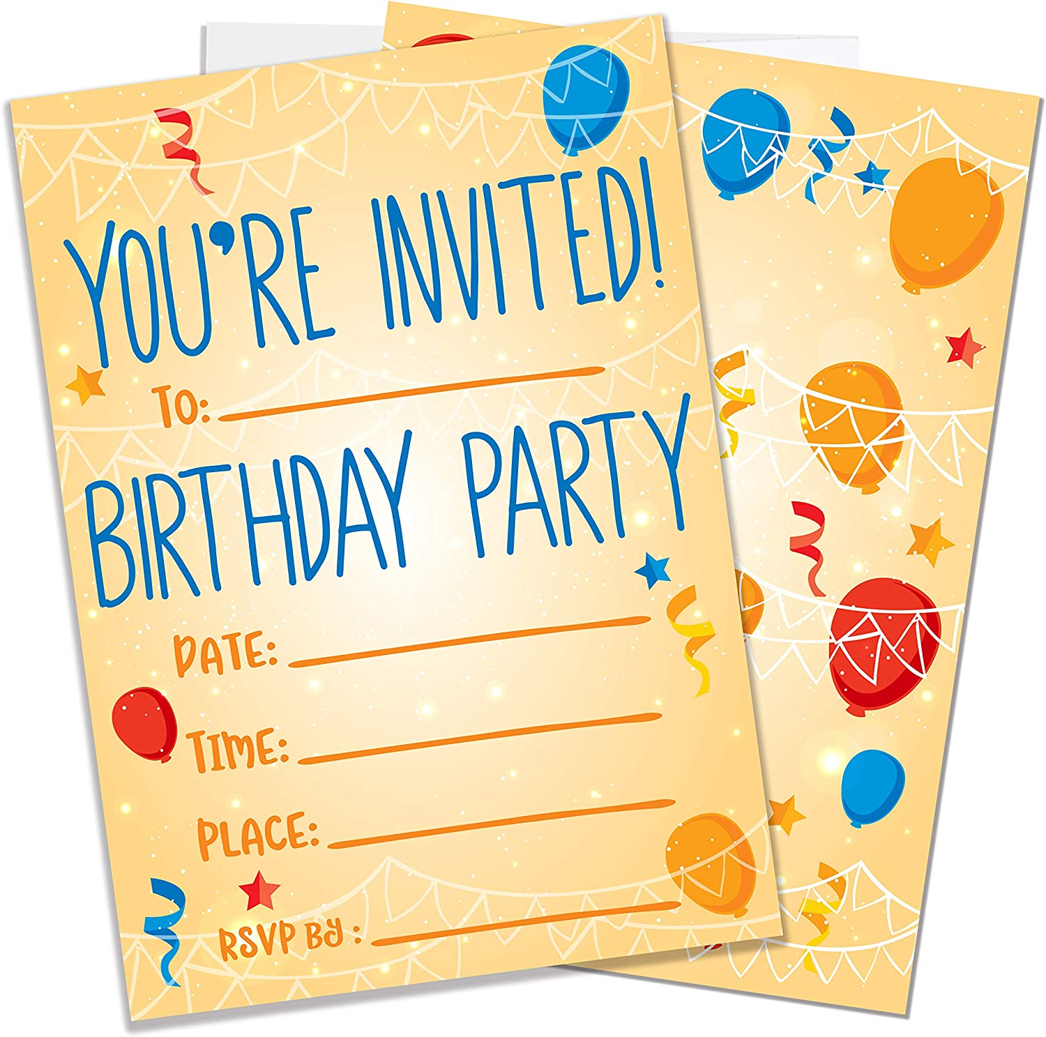Party Invitations for Boys, Girls, Kids  5 Invite Cards with Envelopes   Birthday Party Supplies