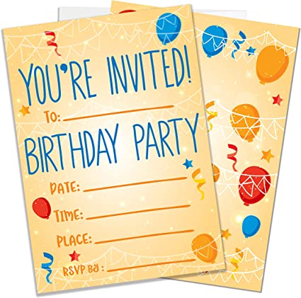 Party Invitations For Boys Girls Kids 25 Invite Cards With Envelopes Birthday Party Supplies