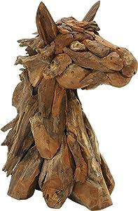 "Deco 79 37641 Teak Horse Head Home Decor Product, 10""W/24""H"