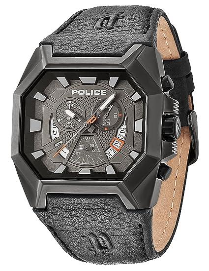 Police HUNTER - Reloj de cuarzo para hombre, con correa de cuero, color negro