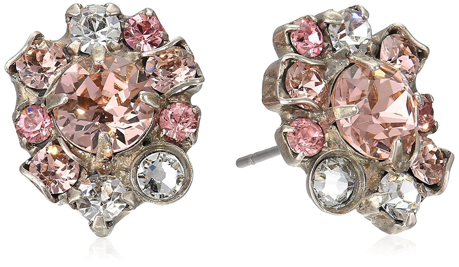 Amazon.com: Sorrelli Crystal Rose Round Crystal Cluster Stud Earrings:  Jewelry