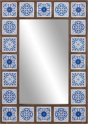 Patton Wall Decor 28×38 Indigo Moroccan Tile Framed Wall Mounted Mirrors, Blue