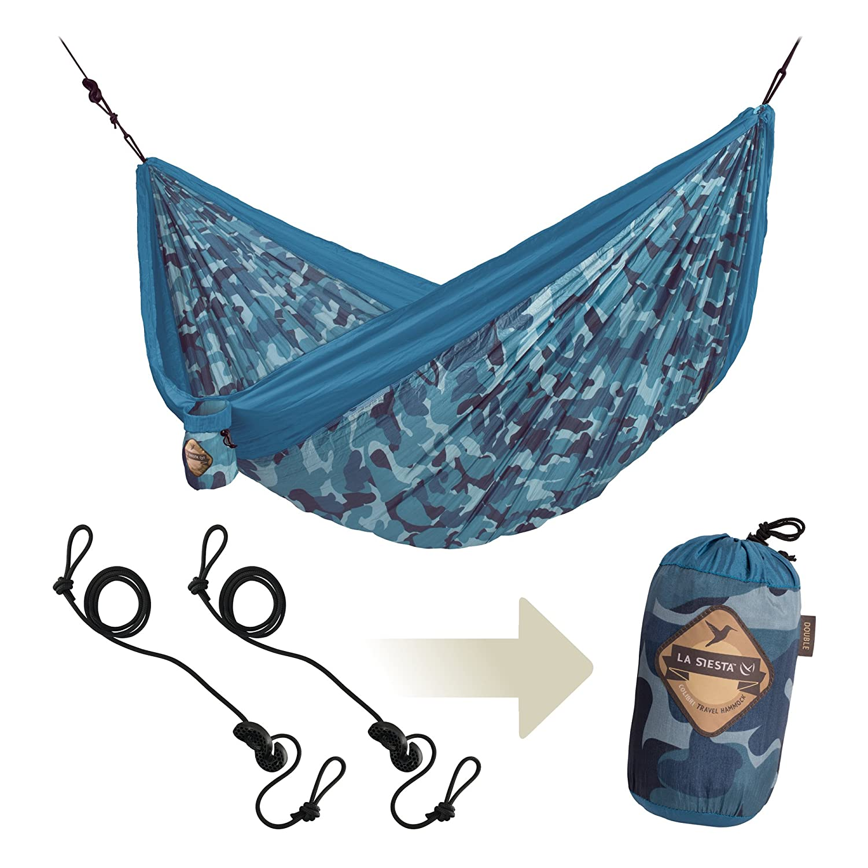 LA SIESTA Colibri - Parachute Silk Double Travel Hammock with Integrated Suspension, Double Size CLH20-C4