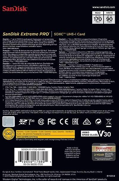 SanDisk Extreme PRO - Tarjeta de memoria SDXC de 1 TB, hasta 170 MB/s, Class 10, U3 y V30