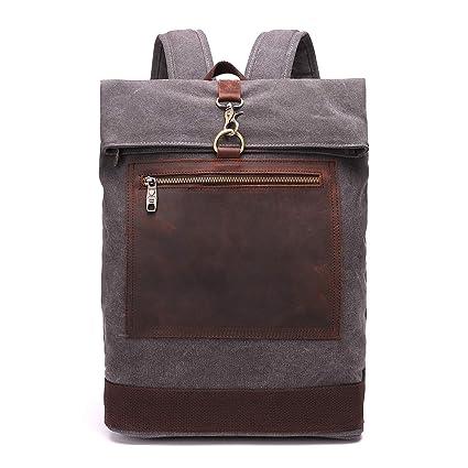 3e47098b67c6 Canvas Vintage Backpack Leather Casual Bookbag Men Women Laptop Travel  Rucksack (Gray)