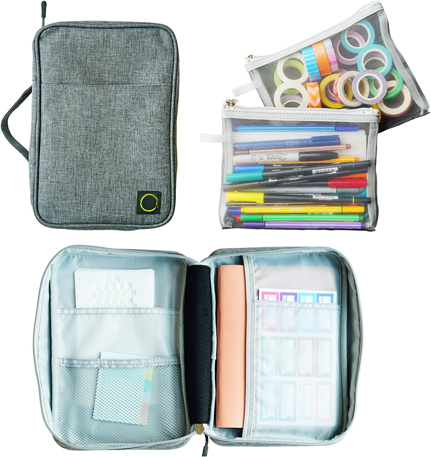 Journal Supplies Storage Case (Gray - Medium) - Custom Travel Organizer Holder for A5 Planner, Pens, Journal Supplies and Accessories (Case Only - Supplies Not Included) : Office Products