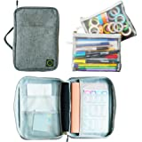 Journal Supplies Storage Case (Gray - Medium) - Custom Travel Organizer Holder for A5 Planner, Pens, Journal Supplies and Acc