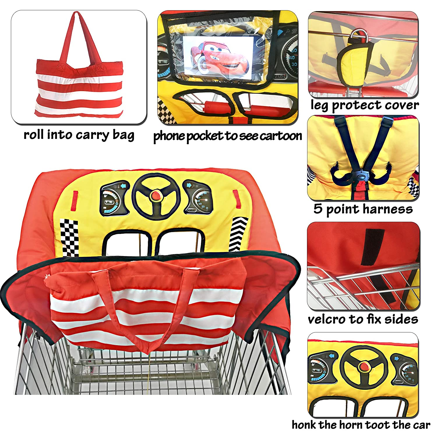 Cute Car Design 2-in-1 Shopping Cart /& High Chair Cover for Baby with Portable Bag Universal Red 5 Point Safety Harness System Universal Fit All Shopping Cart Seat/& Restaurant Highchair