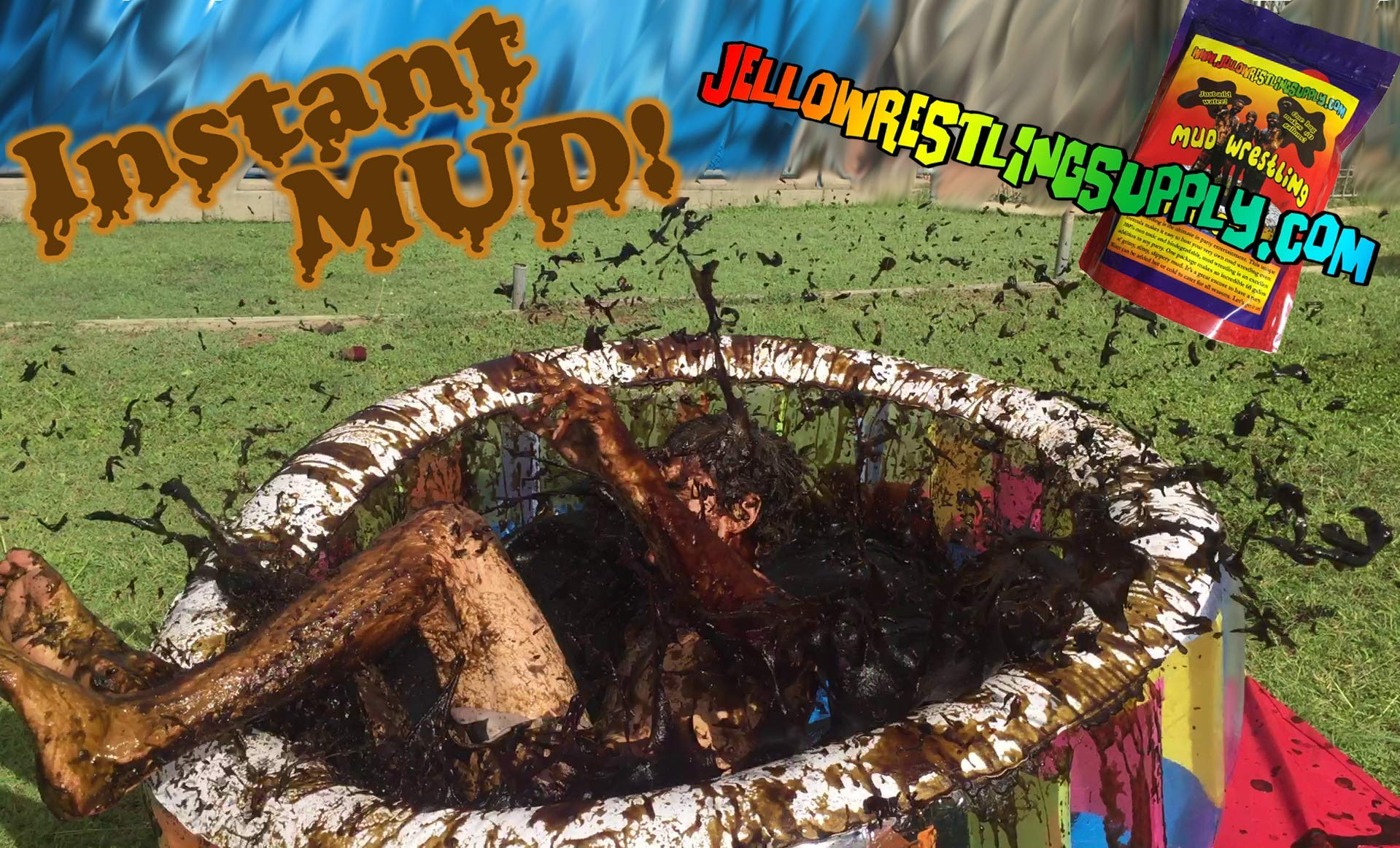 INSTANT MUD for Wrestling, Mud Pies, Balloons & Bombs JUST ADD WATER Bulk Mud powder makes 60 GALLONS of fake mud. Safe, clean mud run obstacle pits, pitch burst, Slime sludge messy kit oil tar by JelloWrestlingSupply.com (Image #7)
