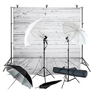 Julius Studio Wood Floor Backdrop Muslin with Umbrella Lighting Kit, Background Support Stand, Bulb, Socket, Spring Clamp, White & Black Umbrella Reflector, Photography Studio, JSAG355