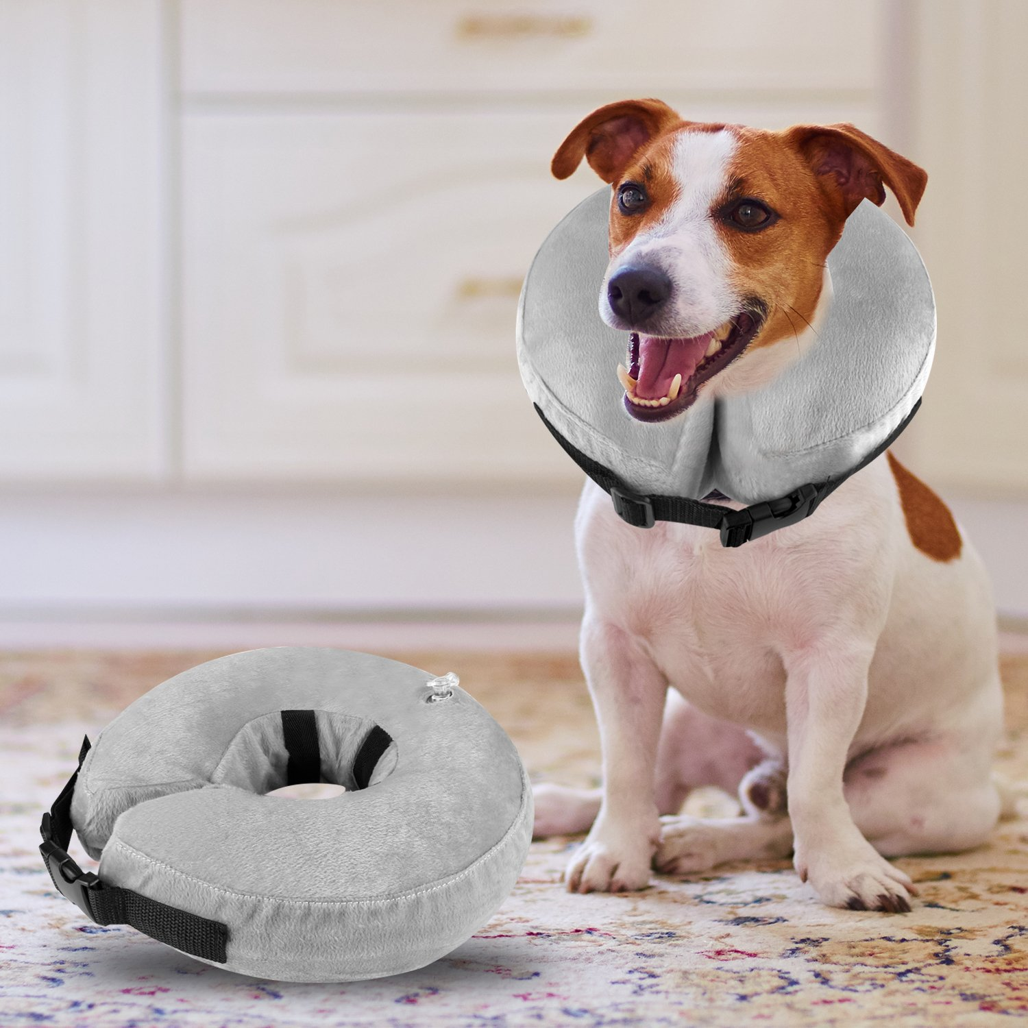 Airsspu Dog Cone Collar Soft - Soft Pet Recovery E-Collar Cone for Small Medium Large Dogs, Designed to Prevent Pets from Touching Stitches (Medium)