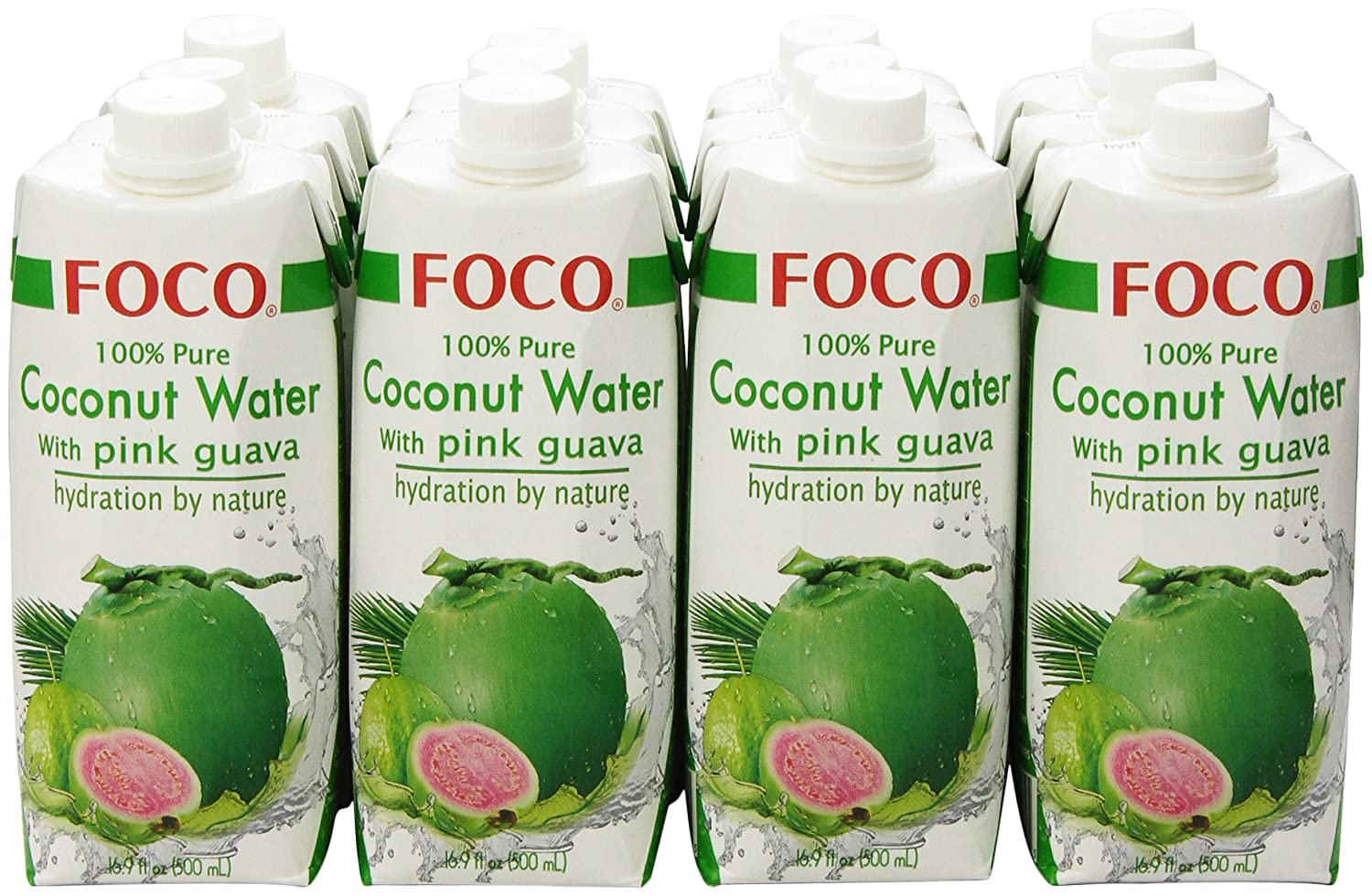 5c1cdf046c FOCO Pure Coconut Water with Pink Guava, 16.9Ounce (Pack of 12)