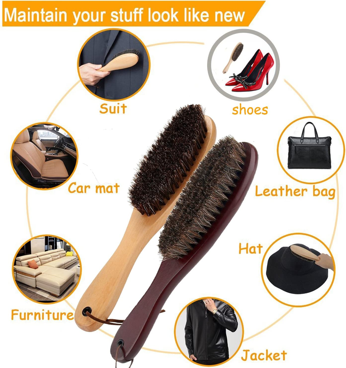 Cokaka Clothes Brush Garment Brush Lint Remover Brush with Genuine Soft Horsehair and Wooden Handle for Coat Men Suits Shoes Jacket Furniture Car Mat and Pet hair 1-Pack walnut wood