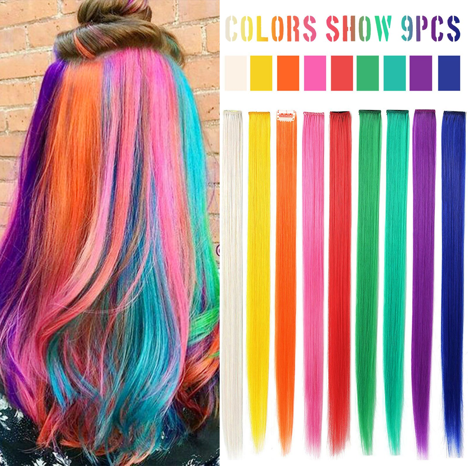 MQ 9PCS Rainbow Hair Doll Accessories Colored Party Highlights Straight Hair Clip Extensions for Amercian Girls and Dolls Wig Pieces (Rainbow Color)