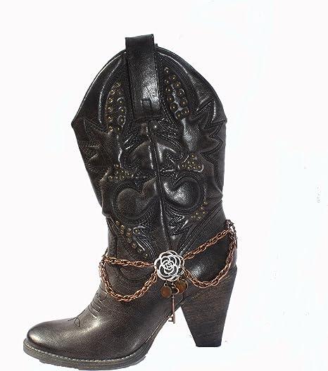 Women Western Boot Anklet Gold Chain Metal Western Shoe Brown Lock Heart Charm