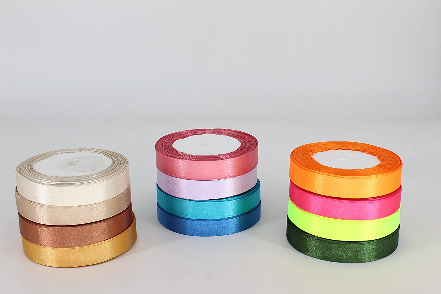 Trimming Shop 6mm Satin Ribbon Rolls - VALUE PACK - (13 rolls for the price of 7) - Polyester Ribbons for Fabric, Arts and Crafts, Bows, Wedding, Birthday Cake and Home Decoration by (Option 1)