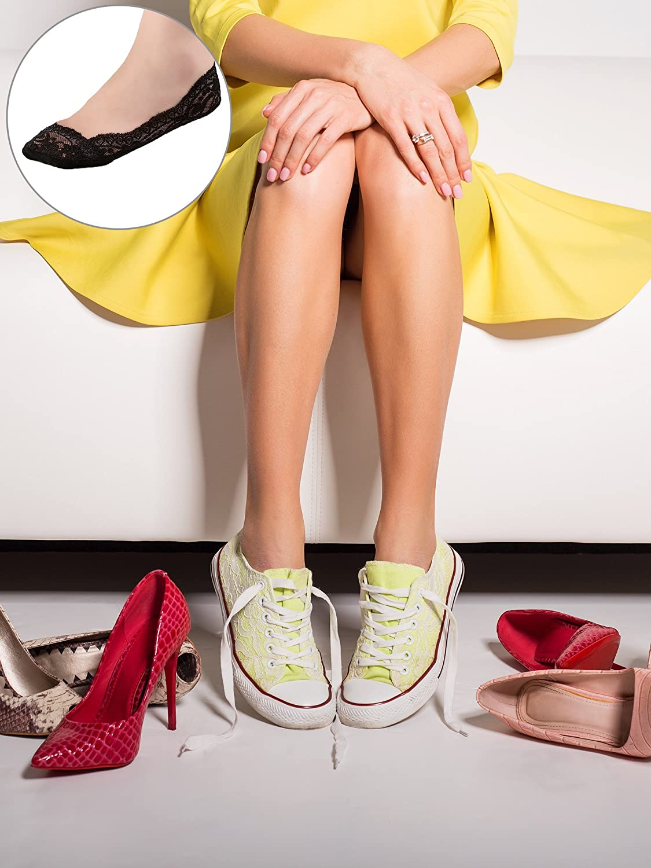 10 Paia Non Mostra Calzini Barca di Pizzo Antiscivolo Calzini della Caviglia Invisibili con per le Donne Favori