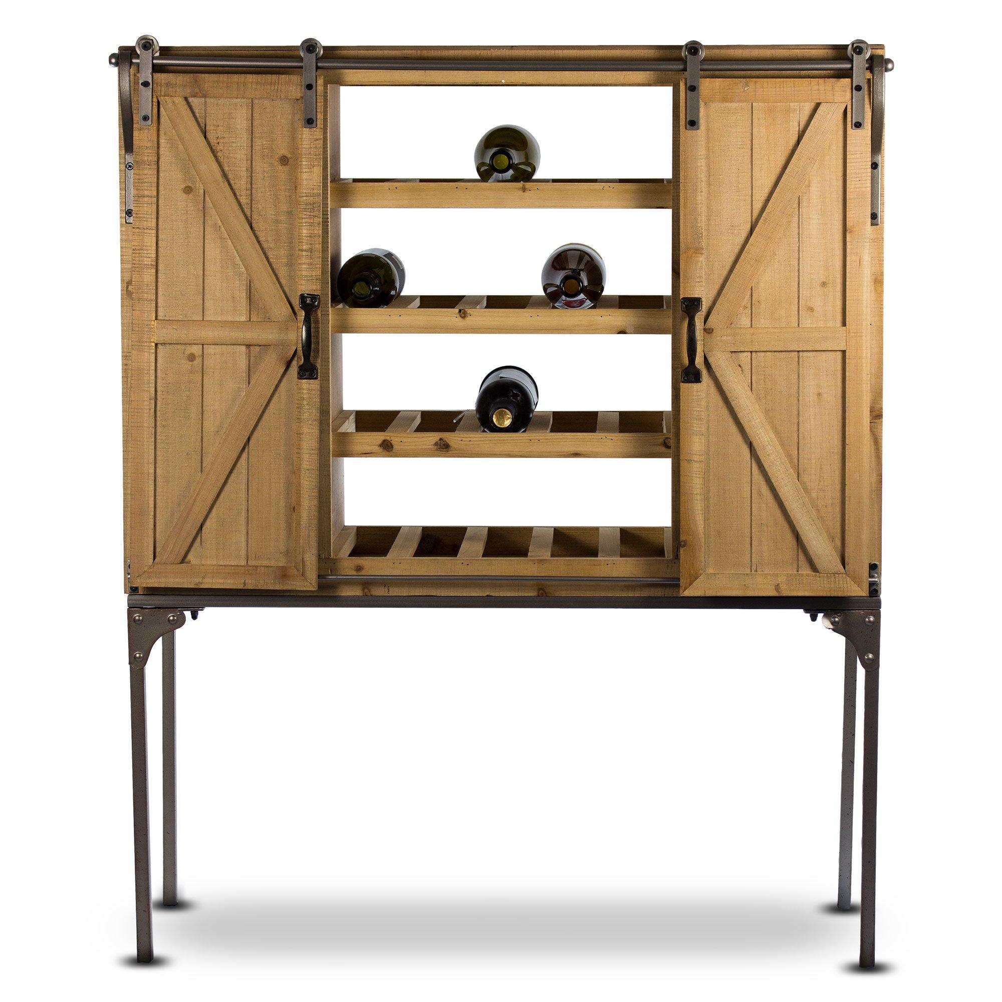 American Art Décor Rustic Wooden Wine Rack Glassware Storage Cabinet with Sliding Barn Door