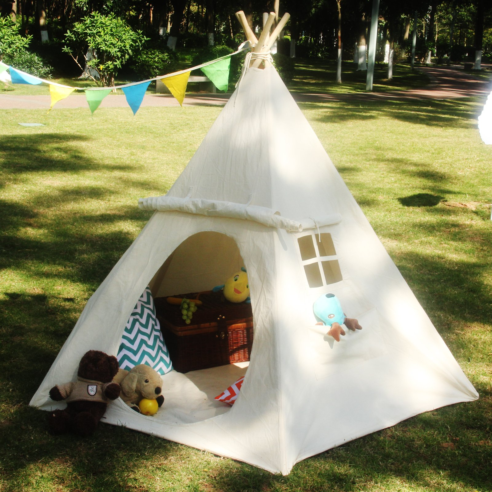 LAVIEVERT Children Playhouse Huge Indian Canvas Teepee Kids Play House with Two Windows - Comes with A Canvas Carry Bag by LAVIEVERT