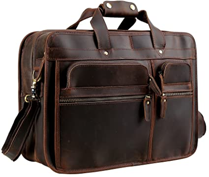 "a2813392218 Image Unavailable. Image not available for. Color: Iswee 17"" Laptop  Briefcase Vintage Leather ..."