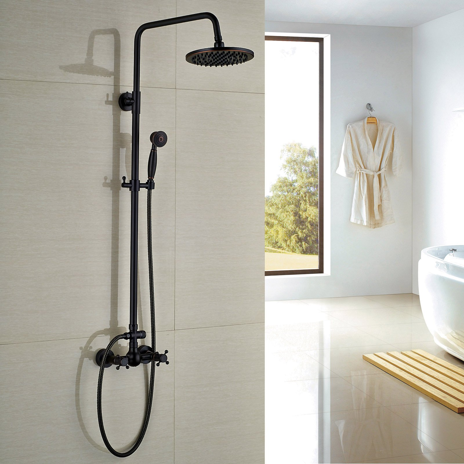 Rozin Bathroom Shower Faucet Set 8'' Rain Shower Head + Hand Spray Oil Rubbed Bronze by Rozin