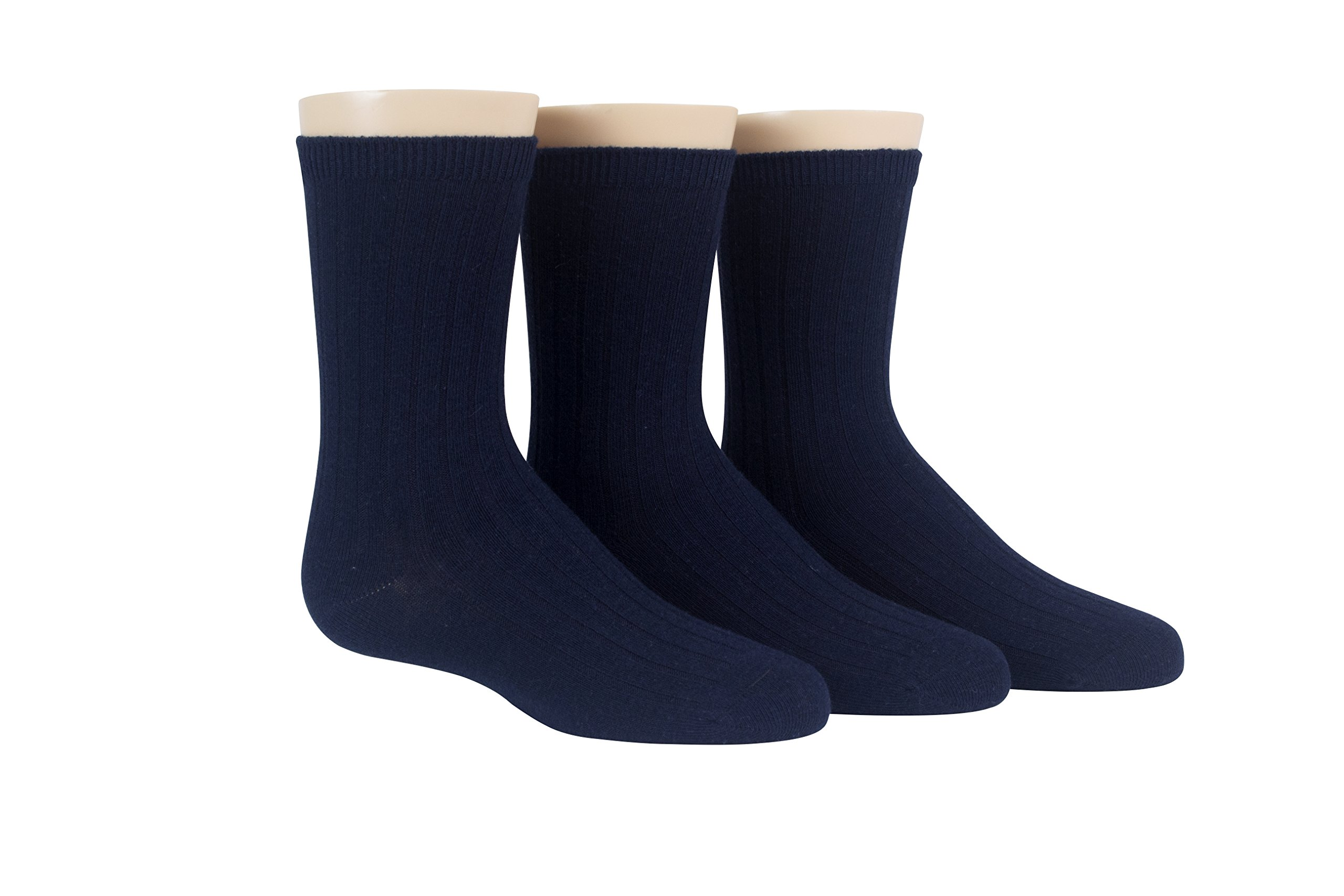 Stride Rite Little Boys' Comfort Seam Three Pack Ribbed Crew Socks, Navy, 7-8