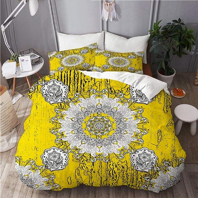 VORMOR Funda nórdica Impresa(240x260cm),Resumen de antecedentes Oriental clásico Amarillo Dorado,Decorativo de Dormitorio Doble Hotel Juego de Cama de 3 Piezas con 2 Fundas de Almohada(50x75cm): Amazon.es: Hogar