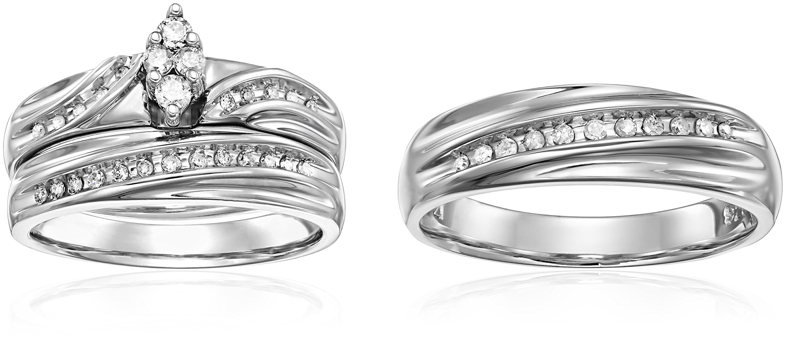 Sterling Silver Diamond Trio Wedding Ring Set (3/8cttw, I-J Color, I2-I3 Clarity)