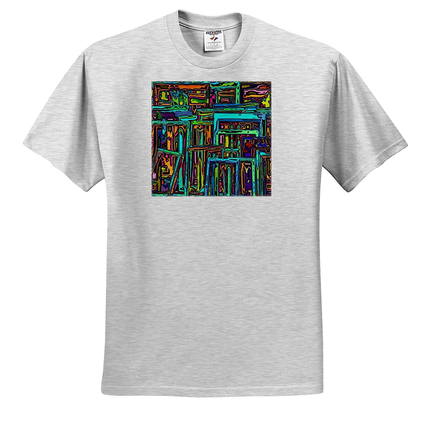 T-Shirts Graphic Design Modern Art of vibrantly Colored Rectangular Shapes chaotically Stacked 3dRose Perkins Designs