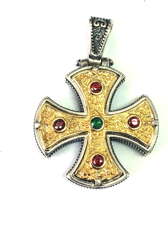 Sterling Silver 18 Karat Gold Overlay Byzantine Square Pendant